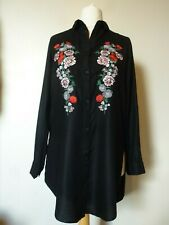 H&M Long Sleeves Embroidered Viscose Shirt Size 8 Uk BNWT RRP £23.98 Black