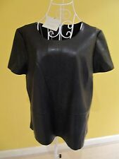 NEW Great Plains London Women Short Sleeve Black Leathery Wet Look Top Size L 12