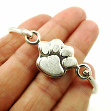 Dog Cat Animal Paw Print 925 Sterling Silver Bangle Cuff