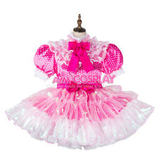 french sissy maid dress polka dots satin lockable Unisex Tailor-made[G2126]