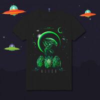Alien Neon Green Glow Ripley Space Alien Attack UFO Horror HD93 Black T-Shirt