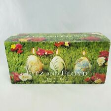 Set of 3 Fitz & Floyd 2001 Boxed Elegant Easter Eggs 3D Flowers Candles Nib