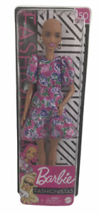 Barbie Fashionista Doll #150 Bald w/ Earrings & Pink Floral Dress