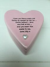 Shabby Personalised Chic Special Nanny Nana Nannie Etc Ceramic Heart Trinket box