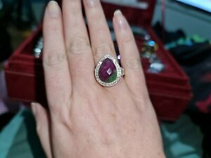Ruby Zorzite And White Topaz Sterling Silver Ring