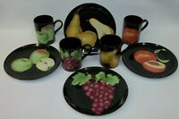 Vtg Fitz & Floyd FF Fruit Medley on Black China Mugs Cups Plates - Set for 4 MIJ