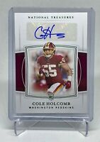 2019 Panini National Treasures COLE HOLCOMB Green Auto /5 Rookie RC