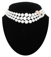 Vintage Japan White Glass Bead Graduated Three Strand Choker Necklace