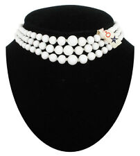 Vintage Japan White Glass Bead Graduated Three Strand Choker Necklace