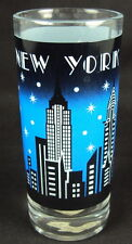 Zizo 60094 Drinking Glasses, 10 oz, Set Of 6, New York City Skyline, Blue/Black