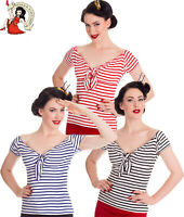 HELL BUNNY 50s DOLLY TOP nautical STRIPE jersey rockabilly Style