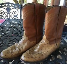 Exotic Justin Mens 7 B Full Quill Ostrich Leather Ropers Western Boots