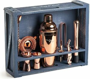 Bartender Kit 11 Pc Bar Tool Set w/ Rustic Wood Stand Copper Cocktail Shaker Kit