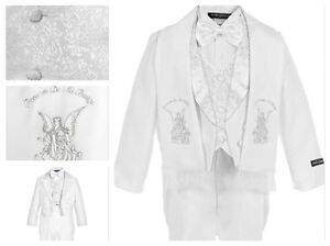 iGilrDress Baby//Toddler//Boys White Baptism Christening Mandarin Collar Tail 5 pcs Tuxedo with Cross Embroidery