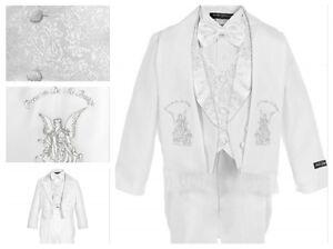 iGilrDress Baby//Toddler//Boys White Baptism Christening Mandarin Collar Tail 5 pcs Tuxedo with Cross Embroidery