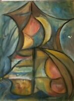 Mid Century Original Oil Painting Frederick A Frederickson Still Life Abstract 5