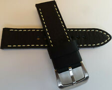 Véritable Cuir Noir W / Haut Contraste Blanc Couture 22mm Smartwatch Montre