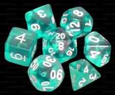 7 Piece Polyhedral Dice Set - Cloud Drop Translucent Teal - Turquoise Dice Bag