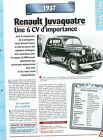 Renault Juvaquatre 1937 France Car Auto FICHE FRANCE