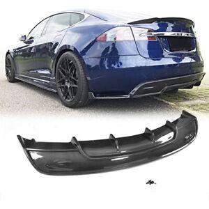 For Tesla Model S 70D Sedan 16-19 Carbon Fiber Rear Bumper Diffuser Lip Spoiler