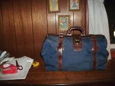 ALESSANDRO VENANZI' Jacquard Travel Satchel Blue/Walnut style #9702 BRAND NEW