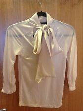 3f51ce40fe8983 Gorgeous Ted Baker Jersey Office Silk Bow Smart Blouse Shirt Top size 2 Uk  10
