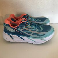 Hoka One One Women Size 9 Clifton 3 Blue Teal Athletic Running Shoes USED