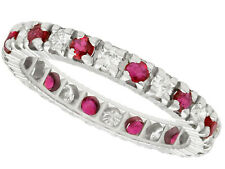 Vintage Ruby and Diamond Ring in 18k White Gold, Eternity Ring