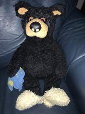 Bearfoots Big Carvers Plush Black Bear Lil Joe Slippers/Blanket