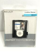 BELKIN Black Leather Folio Case~ 3G Apple IPOD Nano~ 3rd Generation In Box