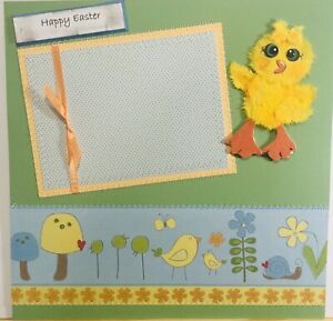Premade Scrapbook Page 12x12 HAPPY EASTER Mulberry Tear bear Chic SEWN-JENN