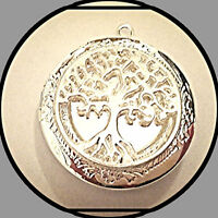 """Lacy TREE of LIFE Silver Plated PHOTO Locket on sterling 925 Chain 18"""" Necklace"""