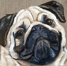PUG DOG NEW ORIGINAL OIL PAINTING on BOARD SANDRA COEN ARTIST ENGLAND