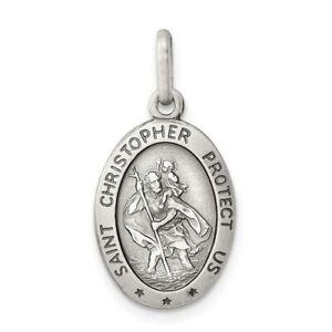 Sterling Silver 925 St. Saint Christopher Oval Medal Pendant 0.99 Inch
