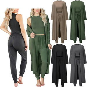 3Pcs Womens Cardigan Long Jacket+Vest Crop Tops+Pants Sets Loungewear Outfits