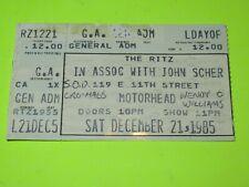 VINTAGE 1985 MOTORHEAD ( ORGASMAGTRON TOUR )  CRO MAGS SOD TICKET STUB