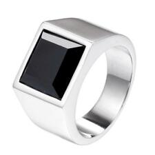 Cube Stainless Steel Band Size 7-12 Fashion Men Gold Plating Agate Ring Retro