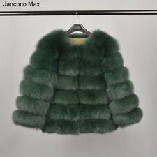 Women Real Fur Coat Winter Outerwear Jackets Warm 6 Rows Coat Full Sleeves 37208