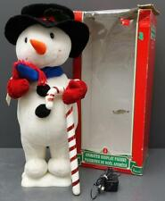 "Telco Motionettes 24"" Animated Snowman Christmas Display Figure w/ Candy Cane"