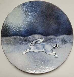 "Vtg Mid-Century NORMAN BRUMM Enamel On Copper 6"" Bunny In The Snow Moon Plate"