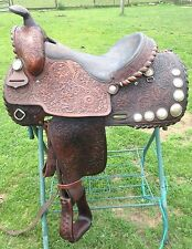 "Used/vintage16"" Buford Western show / pleasure saddle w/ silver lacing, conchos"