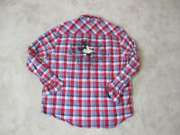 Disney Park Pearl Snap Shirt Adult Extra Large Blue Red Plaid Mickey Mouse Mens