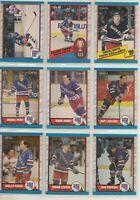 NEW YORK RANGERS ~ 1989-90 O-Pee-Chee TEAM SET ~ 16 OPC Hockey Cards ~ LEETCH RC
