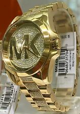 NWT MICHAEL KORS Bradshaw Gold Glitz Swarovski Pave Crystal Watch MK6487 $375