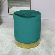 Green Velvet Stool with Gold Base vintage luxury glamorous bedroom seating chair