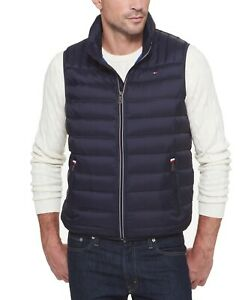 Tommy Hilfiger Mens Vest Black Size 2XL Puffer Full-Zip Quilted $195 #086