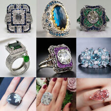 Hot Fashion 925 Silver Huge White Sapphire Gems Ring Lady Party Jewelry Sz 6-10