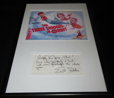 Emil Sitka Signed Framed 12x18 Note & Photo Display Three Stooges in Orbit