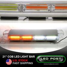 "Amber White 21"" COB Emergency Warning Hazard Security LED Strobe Light Bar"