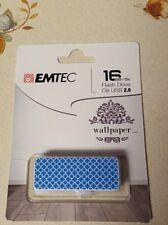 Emtec Flash Drive Wallpaper 16 GB Storage Blue and White Brand New
